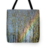 Rainbow Hiding Behind The Trees Tote Bag