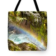 Rainbow In Avalanche Creek Canyon In Glacier National Park-montana Tote Bag