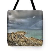 Rainbow In Storm Clouds Pointe De Saint Cast  Tote Bag