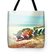 Rainbow Of Adirondack Chairs IIII Tote Bag