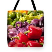 Rainbow Of Peppers Tote Bag