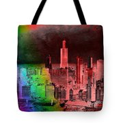 Rainbow On Chicago Mixed Media Textured Tote Bag