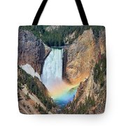 Rainbow On The Lower Falls Yellowstone National Park Tote Bag