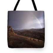 Rainbow Over Delicate Arch Tote Bag