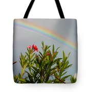 Rainbow Over Flower Tote Bag