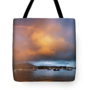 Rainbow Over Harbor At Sunset, Portree Tote Bag
