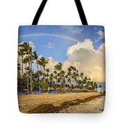 Rainbow Over The Beach Tote Bag