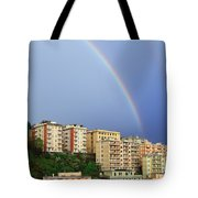 Rainbow Over The Town Tote Bag