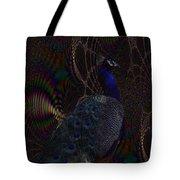 Rainbow Peacock Fractal Tote Bag