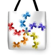 Rainbow Roses In White Tote Bag