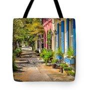 Rainbow Row Sidewalk Tote Bag