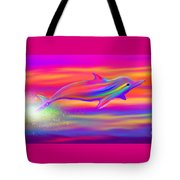 Rainbow Tide Dolphin Tote Bag