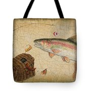 Rainbow Trout-basket Weave Tote Bag by Jean Plout