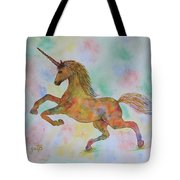 Rainbow Unicorn In My Garden Original Watercolor Painting Tote Bag