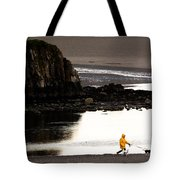 Raincoat Dog Walk Tote Bag