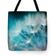 Raindrops On Dandelion Sea Blue Tote Bag
