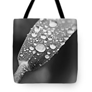 Raindrops On Grass In Black And White Tote Bag