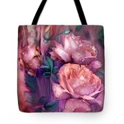 Raindrops On Peach Roses Tote Bag