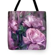 Raindrops On Pink Roses Tote Bag