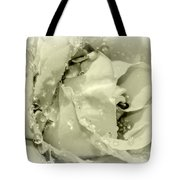 Raindrops On White Rose Tote Bag