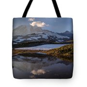 Rainier Reflected In A Glacial Tarn Tote Bag