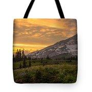 Rainier Wildflowers Meadow Sunset Tote Bag