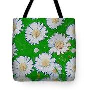 Raining White Flower Power Tote Bag