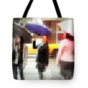 Rainy Day In The City - Blue Pink And Polka Dots Tote Bag