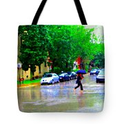 Rainy Days And Mondays Girl Running With The Blue Umbrella Montreal Art City Scenes Carole Spandau Tote Bag