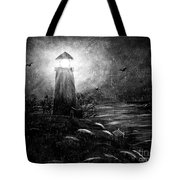 Rainy Night At The Lighthouse Tote Bag