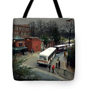 Raleigh Bus Terminal - Evening Tote Bag by Paulette B Wright