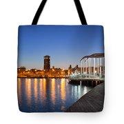 Rambla De Mar Promenade In Barcelona At Night Tote Bag