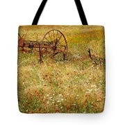 Ranch And Wildflowers And Old Implement 2am-110546 Tote Bag