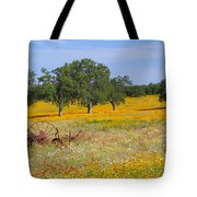 Ranch And Wildflowers And Old Implement 2am-110556 Tote Bag