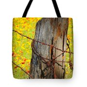 Ranch Wildflowers And Fence 2am-110532 Tote Bag