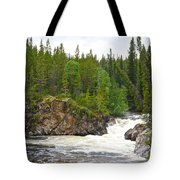Rancheria Falls Along Alaska Highway In Yk-canada   Tote Bag