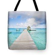 Rangiroa Atoll Pier On The Ocean Tote Bag
