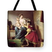 Raphael Adjusting His Model's Pose For His Painting Of The Virgin And Child  Tote Bag