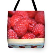 Raspberries In A Basket Tote Bag