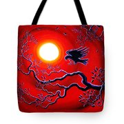 Raven In Ruby Red Tote Bag