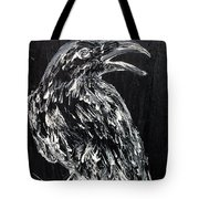 Raven On The Branch - Oil Painting Tote Bag