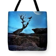 Raven On Twisted Tree With Moon Tote Bag
