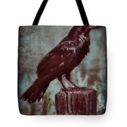 Raven Perched On A Post Tote Bag