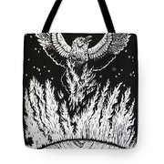 Raven Stealing Fire From The Sun - Woodcut Illustration For Corvidae Tote Bag