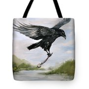 Raven Stealing Time Tote Bag