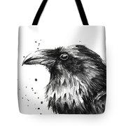 Raven Watercolor Portrait Tote Bag