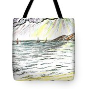 Rays Of Sunshine Between Clouds Tote Bag