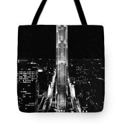 Rca Building At Night In Nyc Tote Bag