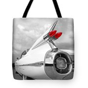 Reach For The Skies - 1959 Cadillac Tail Fins Black And White Tote Bag