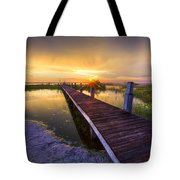 Reaching Into Sunset Tote Bag